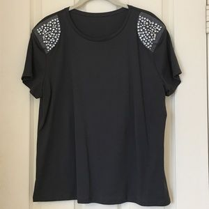 Zara Dark Gray Bling Shoulder T-Shirt